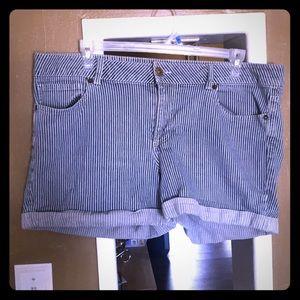 Plus size striped jean shorts
